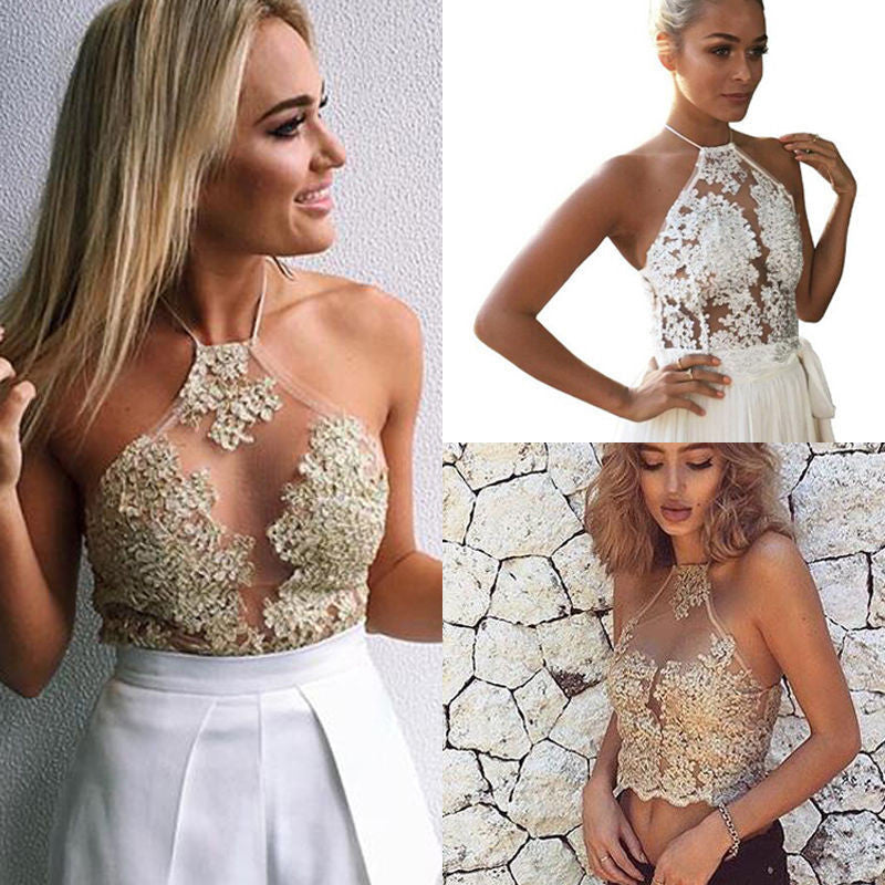 Halter Lace Transparent Sleeveless Backless Sheath Vest - Oh Yours Fashion - 3