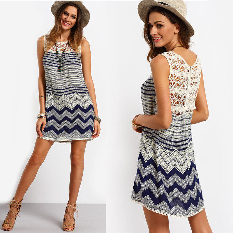 Lace Print Stripe O-neck Sleeveless Short Dress - Oh Yours Fashion - 1