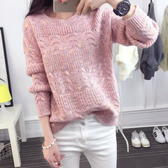 Color Knitting Female Casual Sweater - Oh Yours Fashion - 3