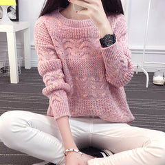 Color Knitting Female Casual Sweater - Oh Yours Fashion - 1