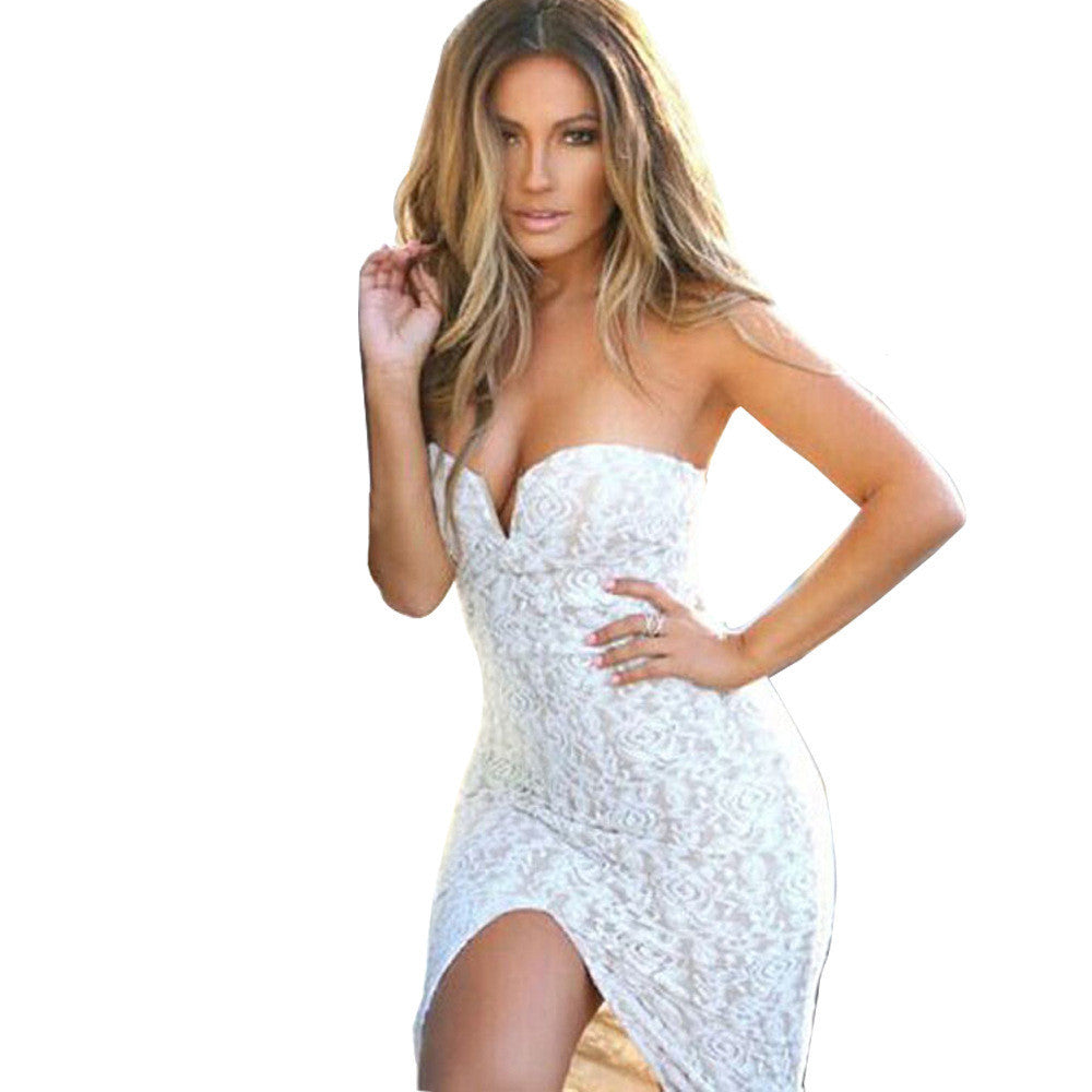 Sexy White Lace Strapless Irregular Dresses - Oh Yours Fashion - 1