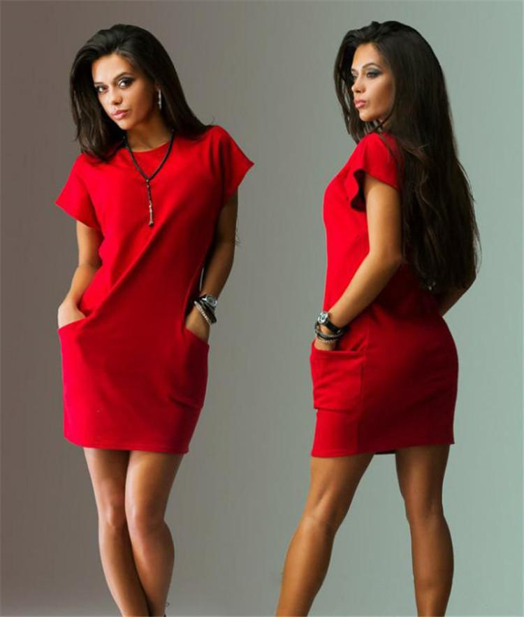 Short Sleeves Solid Color Scoop Short Dress with Pocket - Meet Yours Fashion - 5