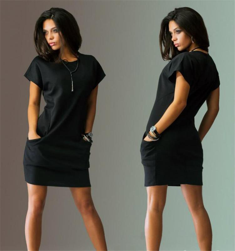 Short Sleeves Solid Color Scoop Short Dress with Pocket - Meet Yours Fashion - 6