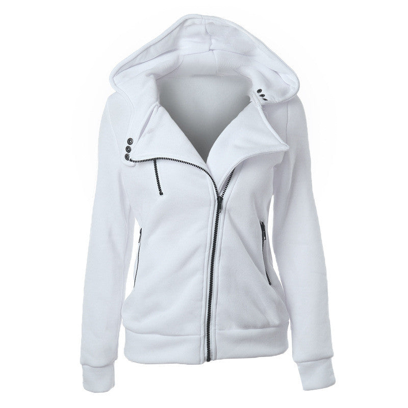Slide Zipper Pure Color Hooded Lapel Hoodie - Oh Yours Fashion - 8