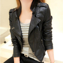 Stand Collar PU Zipper Slim Short Jacket - Meet Yours Fashion - 2