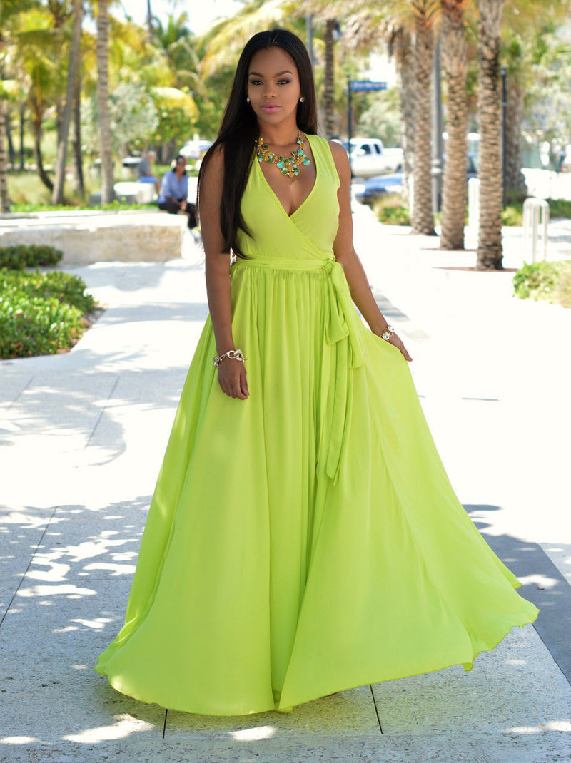 Chiffon Slim Slit V-neck Sleeveless Long Dress - Oh Yours Fashion - 4