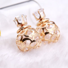 Hollow Out Zircon Crystal Double Pearl Earring - Oh Yours Fashion - 7