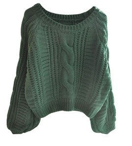 Cable Knit High-waist Loose Short Pullover Sweater - Oh Yours Fashion - 8