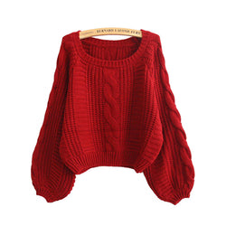 Cable Sleeve Coarse Yam Pure Color Pullover Sweater - Oh Yours Fashion - 1
