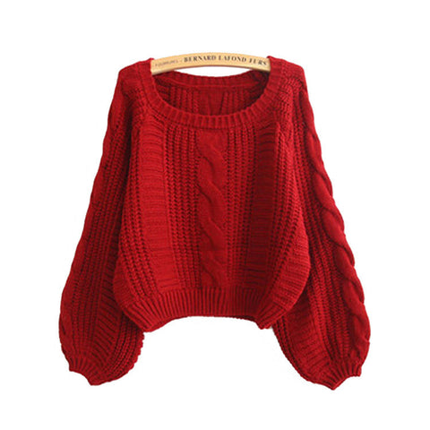 Cable Sleeve Coarse Yam Pure Color Pullover Sweater