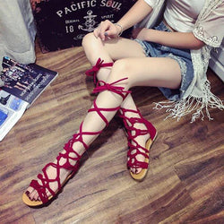Straps Pure Color Lace Up Chunky Flat Heel Thong Women Flat Sandals