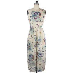 Butterfly Floral Print Sleeveless Long Chiffon Dress - Oh Yours Fashion - 4