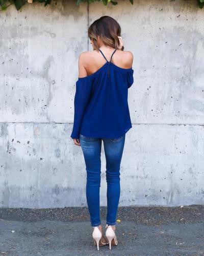 Halter Off-shoulder Long Sleeves Loose Street Chic Blouse - Oh Yours Fashion - 7