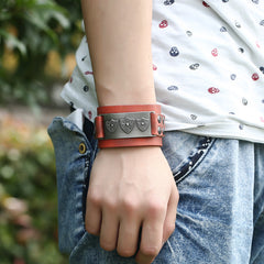 Retro Punk Shield Alloy Leather Bracelet - Oh Yours Fashion - 5