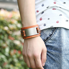 Pure Color Wide Strap Alloy Decorate Bracelet - Oh Yours Fashion - 5