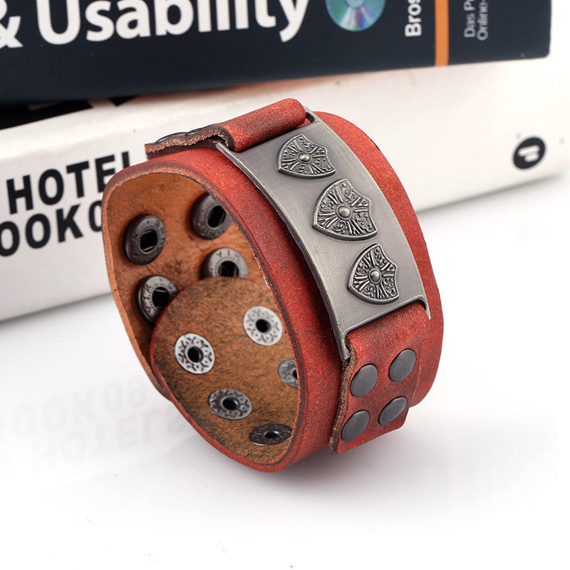 Retro Punk Shield Alloy Leather Bracelet - Oh Yours Fashion - 4