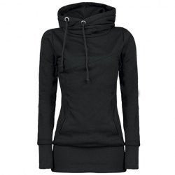 Long Slim Hooded Solid Color High Collar Hoodie - Oh Yours Fashion - 1