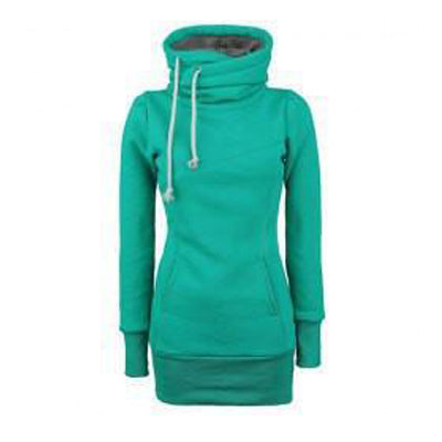 Long Slim Hooded Solid Color High Collar Hoodie