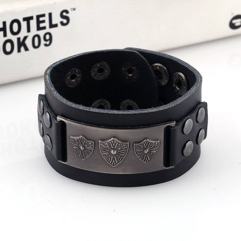 Retro Punk Shield Alloy Leather Bracelet - Oh Yours Fashion - 3