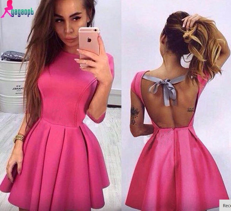 Backless Bow-Knot A-line Short Pleated Skater Dress - Oh Yours Fashion - 4