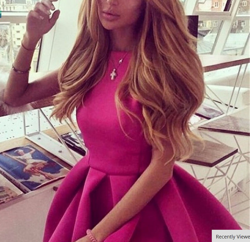 Backless Bow-Knot A-line Short Pleated Skater Dress - Oh Yours Fashion - 3