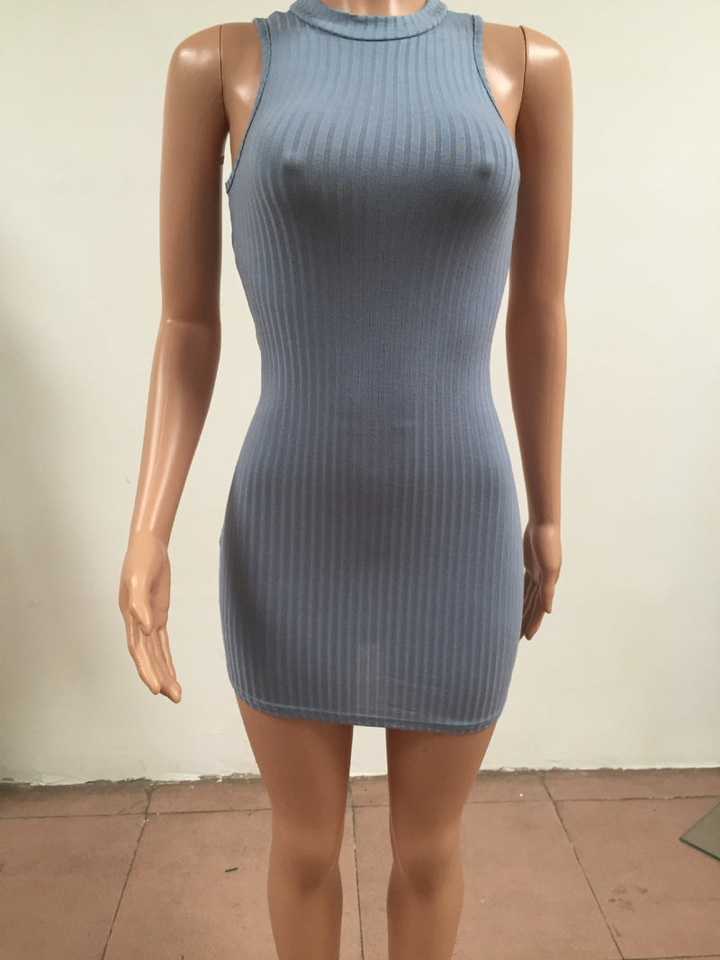 Sexy Hollow Out Back Sleeveless Short Bodycon Dress - Oh Yours Fashion - 6