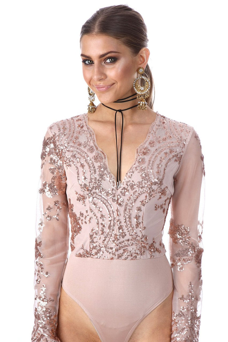 Sequins Embroidery Deep V-neck Long Sleeve Bodysuit