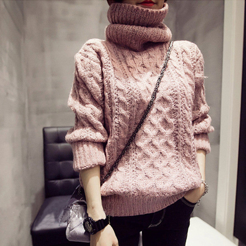 High Neck Pullover Loose Solid Color Knit Sweater - Oh Yours Fashion - 5