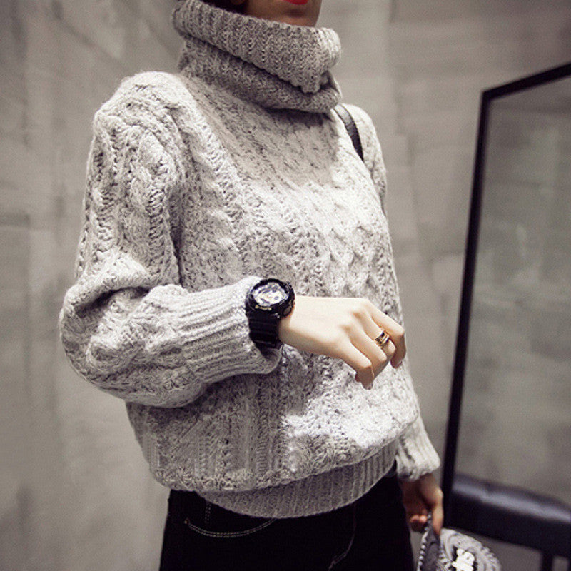 High Neck Pullover Loose Solid Color Knit Sweater - Oh Yours Fashion - 1