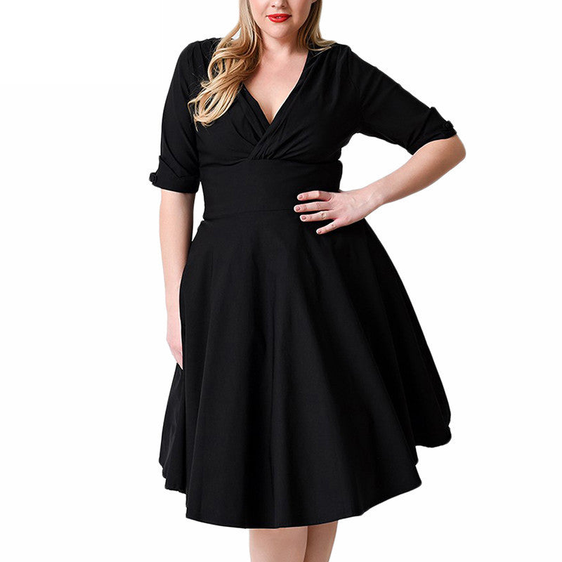 Plus Size Deep V Neck A-Line 1/2 Sleeve Elastic Knee-Length Dress - Oh Yours Fashion - 5