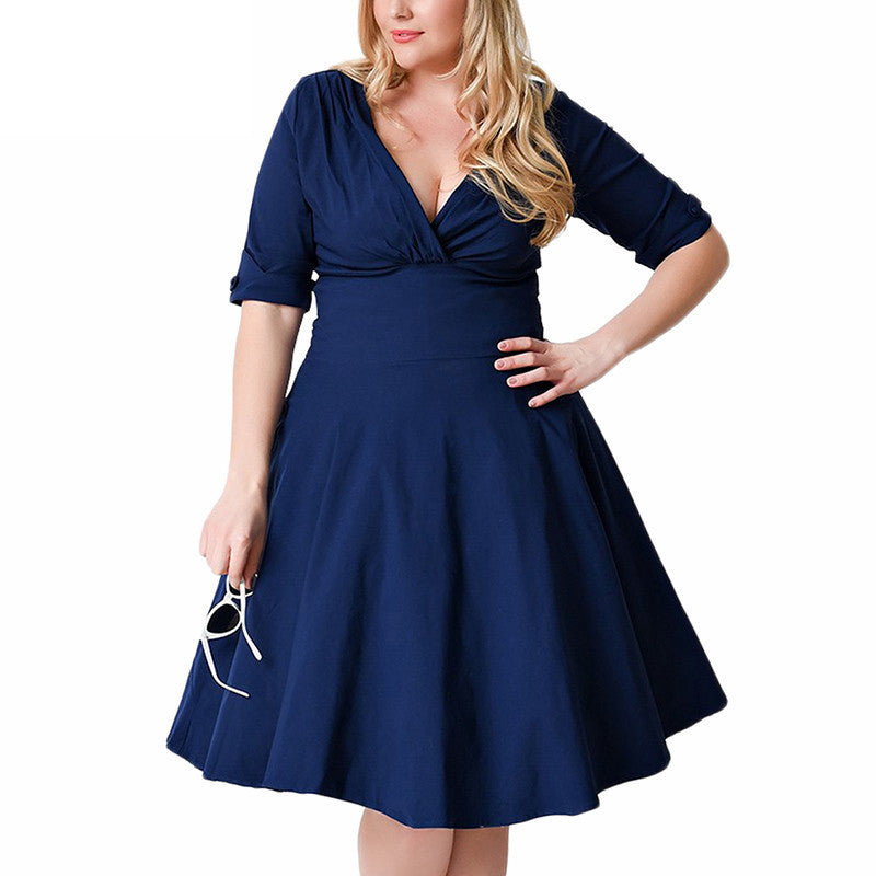 Plus Size Deep V Neck A-Line 1/2 Sleeve Elastic Knee-Length Dress - Oh Yours Fashion - 3