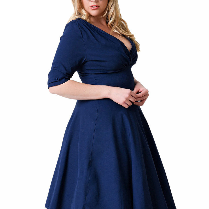 Plus Size Deep V Neck A-Line 1/2 Sleeve Elastic Knee-Length Dress - Oh Yours Fashion - 6
