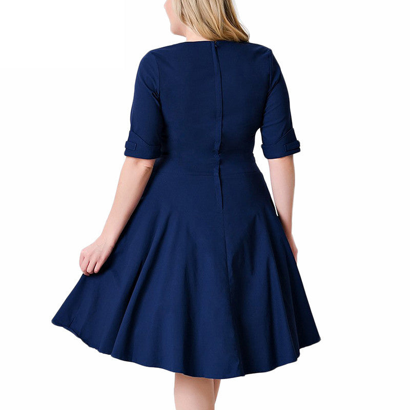 Plus Size Deep V Neck A-Line 1/2 Sleeve Elastic Knee-Length Dress - Oh Yours Fashion - 7