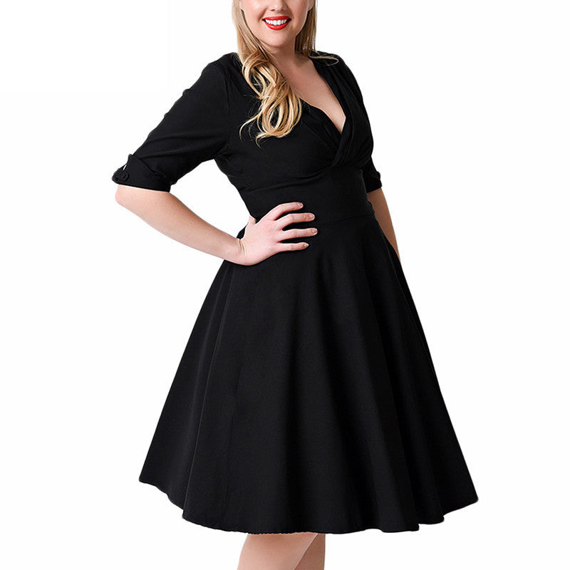 Plus Size Deep V Neck A-Line 1/2 Sleeve Elastic Knee-Length Dress - Oh Yours Fashion - 4