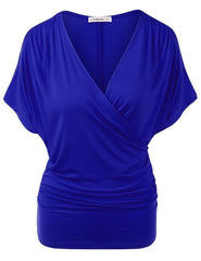 Sexy V Neck Wrap Style Pure Color Bat Short Sleeve Blouse - Oh Yours Fashion - 11