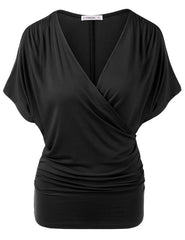 Sexy V Neck Wrap Style Pure Color Bat Short Sleeve Blouse - Oh Yours Fashion - 4