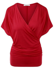 Sexy V Neck Wrap Style Pure Color Bat Short Sleeve Blouse - Oh Yours Fashion - 7