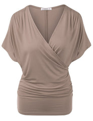 Sexy V Neck Wrap Style Pure Color Bat Short Sleeve Blouse - Oh Yours Fashion - 9
