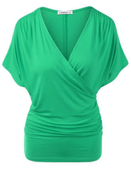 Sexy V Neck Wrap Style Pure Color Bat Short Sleeve Blouse - Oh Yours Fashion - 5