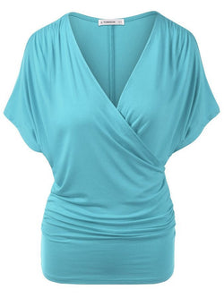 Sexy V Neck Wrap Style Pure Color Bat Short Sleeve Blouse - Oh Yours Fashion - 1
