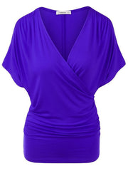 Sexy V Neck Wrap Style Pure Color Bat Short Sleeve Blouse - Oh Yours Fashion - 6