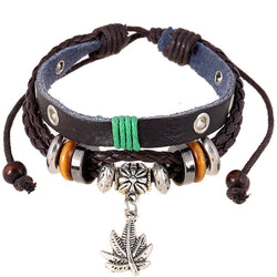 Maple Leaf Pendant Leather Bracelet - Oh Yours Fashion - 1