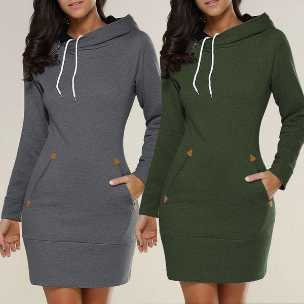 Fashion Pure Color Long Hoodie Dress - Oh Yours Fashion - 1