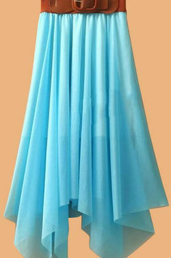 Chiffon Irregular Bohemian Flare Pleated Beach Middle Belt Skirt - Oh Yours Fashion - 2