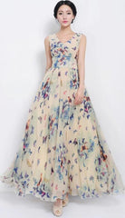 Beautiful Scoop Sleeveless Print Long Pleated Chiffon Dress - Oh Yours Fashion - 2