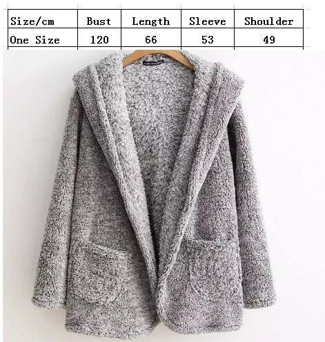 Fashion Hooded Pockets Gray Fur Cardigan - Oh Yours Fashion - 3
