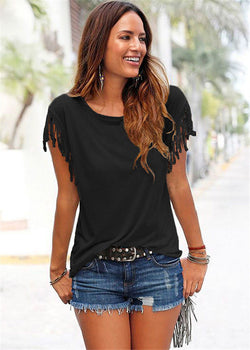 Round Neck Short Sleeve Tassel Soft Cotton T-Shirt - Oh Yours Fashion - 2