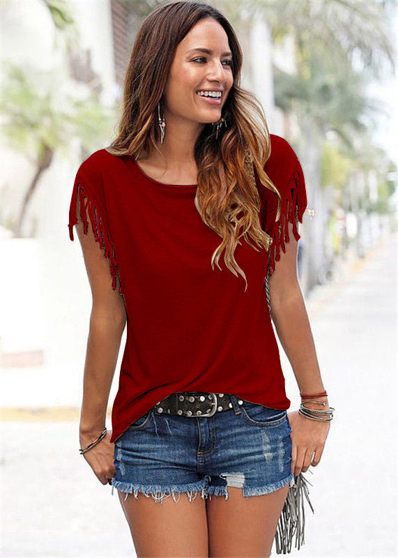 Round Neck Short Sleeve Tassel Soft Cotton T-Shirt - Oh Yours Fashion - 10