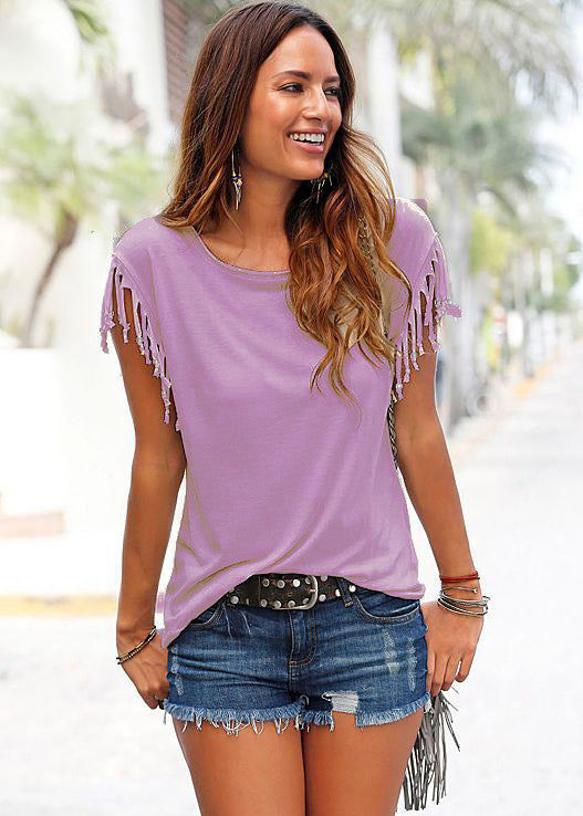 Round Neck Short Sleeve Tassel Soft Cotton T-Shirt - Oh Yours Fashion - 6