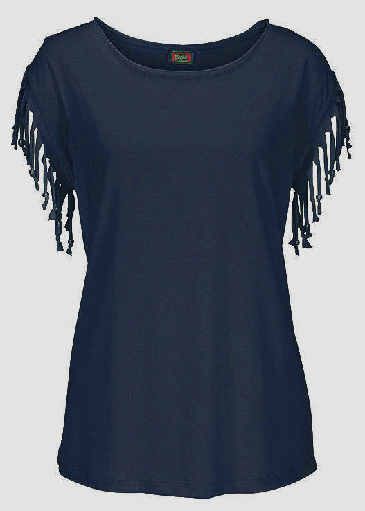 Round Neck Short Sleeve Tassel Soft Cotton T-Shirt - Oh Yours Fashion - 9